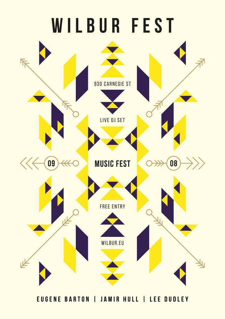 Music Fest Announcement Geometric Ethnic Pattern — Создать дизайн