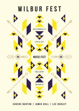 Music Fest Announcement Geometric Ethnic Pattern | Poster Template