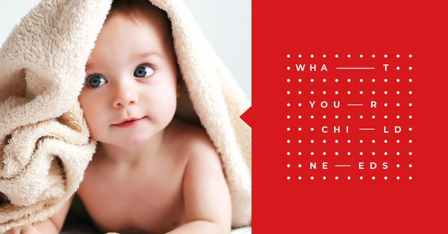 Cute Baby in Towel Facebook AD Design Template