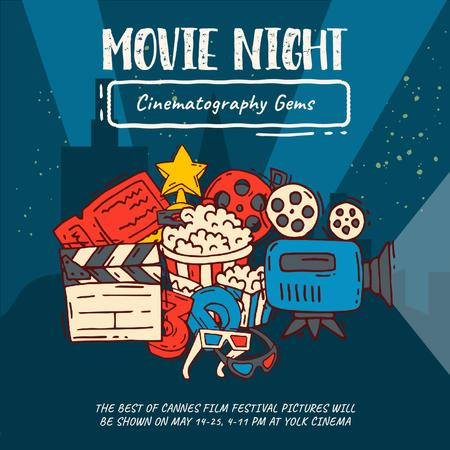 Designvorlage Movie Night invitation with Cinema attributes für Animated Post