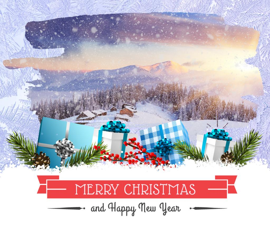 Merry Christmas greeting with gifts and winter forest — ein Design erstellen