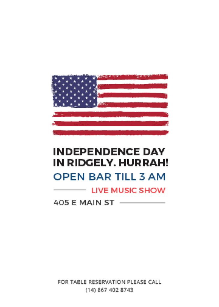 Independence Day Invitation USA Flag on White — Créer un visuel