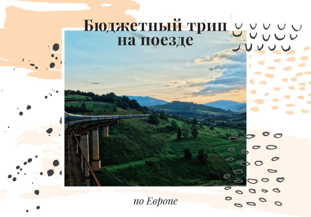 Travelling by Train Railways in Nature Landscape | VK Universal Post — Crea un design