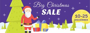 Christmas Holiday Sale with Santa Delivering Gifts