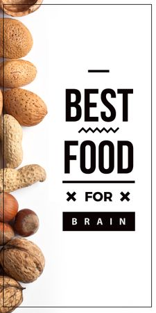 Plantilla de diseño de best food for brain background with nuts Graphic