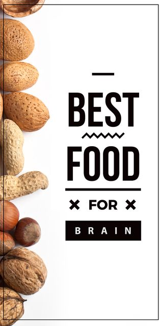 best food for brain background with nuts Graphic – шаблон для дизайна