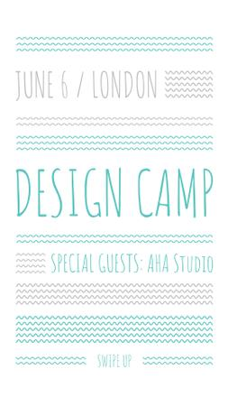 Design camp announcement on Blue waves Instagram Story Modelo de Design