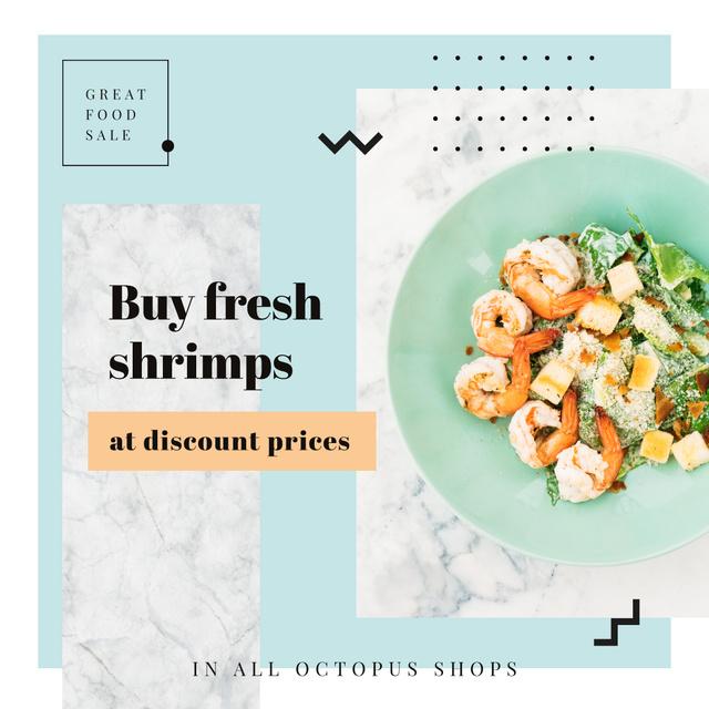 Fresh salad with shrimps for Food Sale Instagram AD Modelo de Design
