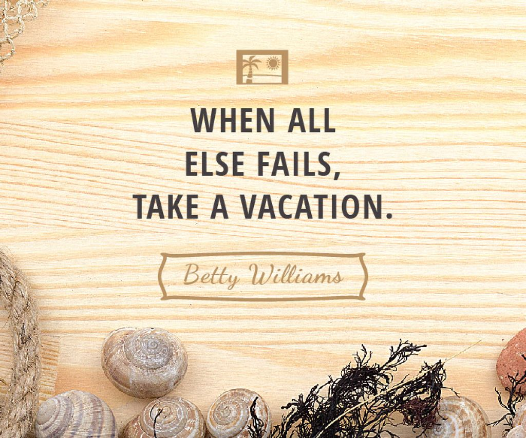 Vacation Inspiration Shells on Wooden Board — Crea un design