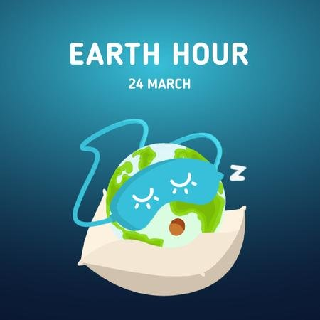 Sleeping Earth globe Animated Postデザインテンプレート