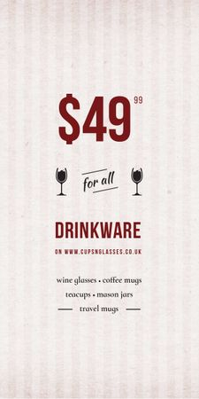 Plantilla de diseño de Drinkware Sale Glass with red wine Graphic