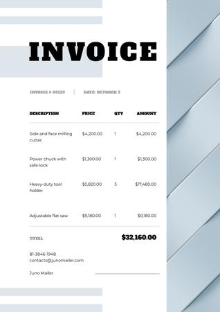 Industrial Tools and machines Store bill Invoice Modelo de Design