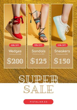 Ontwerpsjabloon van Poster van Fashion Sale with Woman in Stylish Shoes