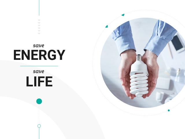 Energy Saving Light Bulb in hands Presentation – шаблон для дизайна