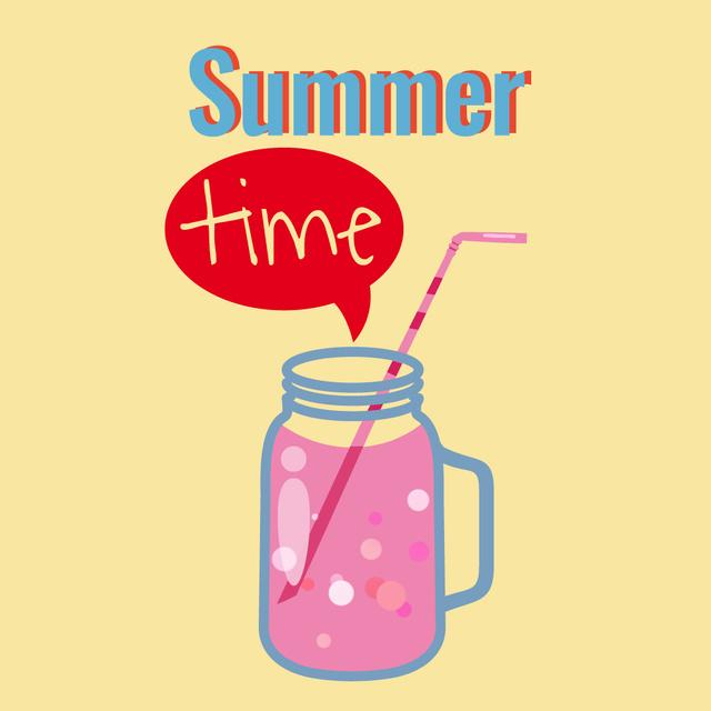 Modèle de visuel Pink cocktail in glass jar - Animated Post
