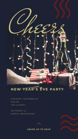 New Years Party with Christmas gift boxes Instagram Story Modelo de Design