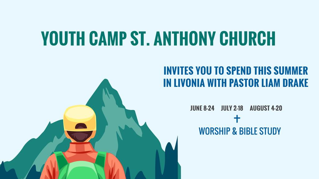 Youth Religion Camp invitation with boy in Mountains — Crear un diseño