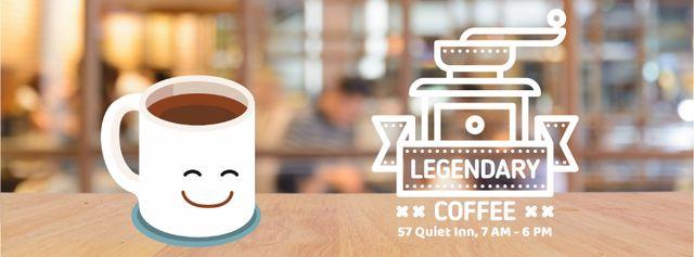 Modèle de visuel Happy cup of coffee in cafe - Facebook Video cover