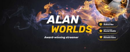 Sport Game Stream with Soccer Ball on Fire Twitch Profile Banner Modelo de Design