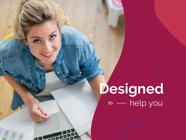 Professional Design with Woman Working by Laptop Presentation – шаблон для дизайна