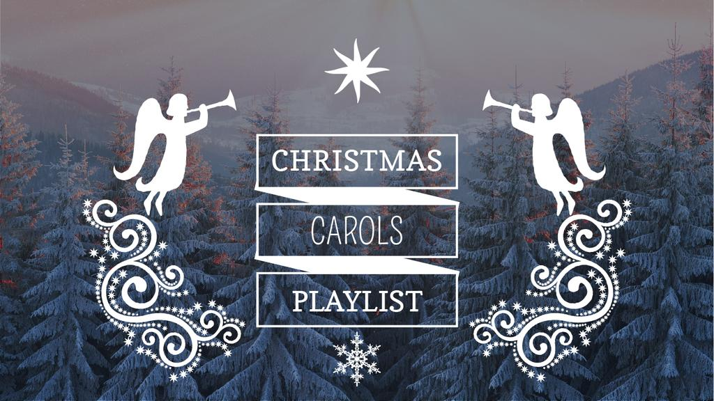 Christmas Carols Playlist Cover Winter Forest and Angels — Crear un diseño