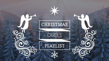 Christmas Carols Playlist Cover Winter Forest and Angels | Youtube Thumbnail Template