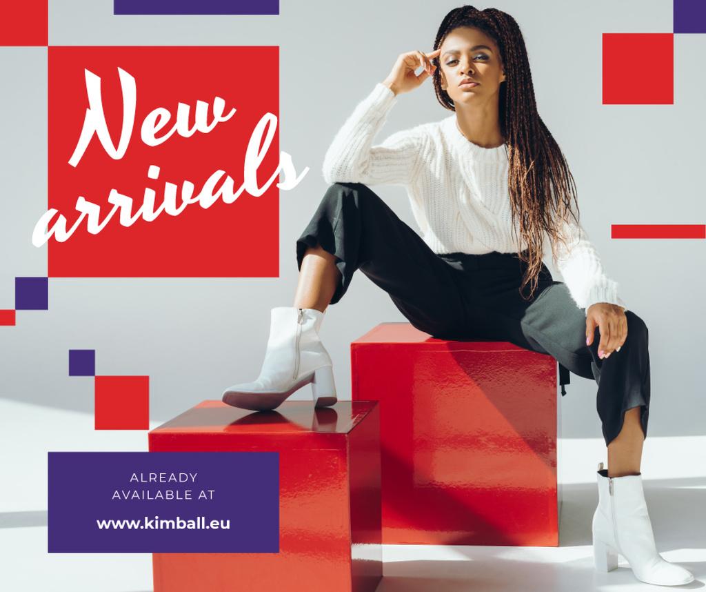Fashion Ad Woman in Monochrome Clothes — ein Design erstellen