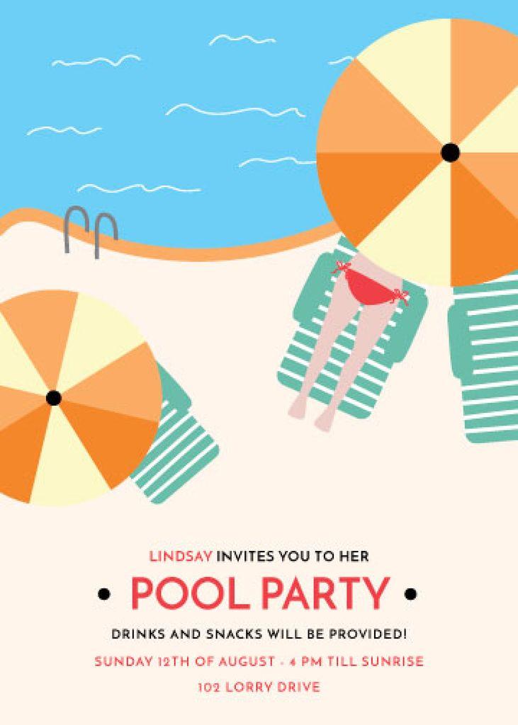 Summer Party invitation Umbrella by Swimming pool — Crea un design