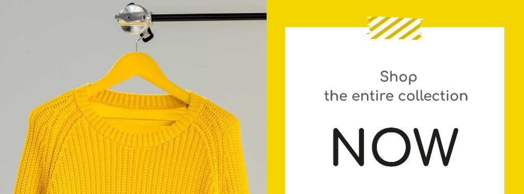 Plantilla de diseño de Entire Collection Annoucement with Yellow Sweater Facebook cover