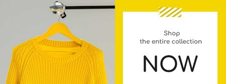 Entire Collection Annoucement with Yellow Sweater Facebook coverデザインテンプレート