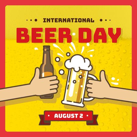 People toasting with beer on Beer day Instagram Design Template