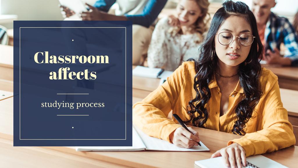 Girl studying in classroom — Crear un diseño