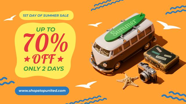 1st Day of Summer Sale Toy Van and Summer Essentials FB event cover Modelo de Design