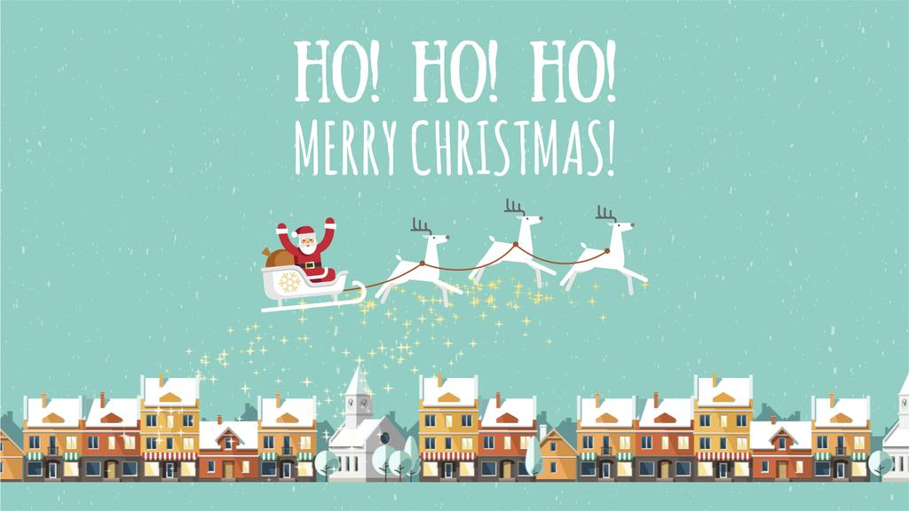 Christmas Greeting Santa Riding in Sleigh over Town | Full Hd Video Template — Створити дизайн