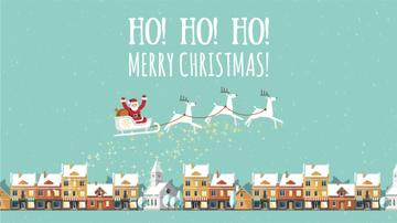 Christmas Greeting Santa Riding in Sleigh over Town | Full Hd Video Template