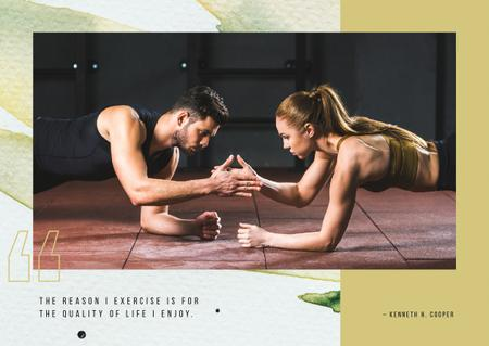 Ontwerpsjabloon van Postcard van Couple training together