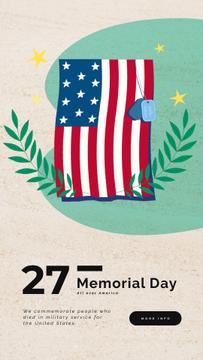 USA Memorial Day Greeting Waving Flag | Vertical Video Template