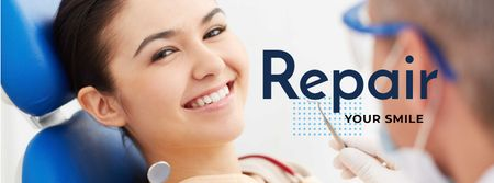 Designvorlage Dentistry advertisement with Smiling Young Woman für Facebook cover