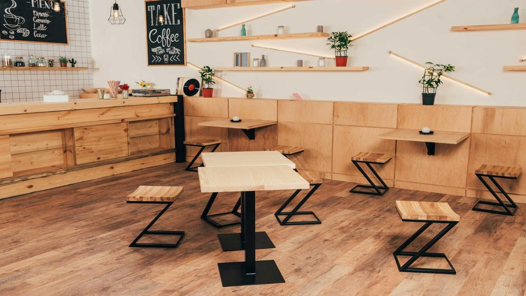 Template di design Cozy wooden empty Coffee Shop Zoom Background