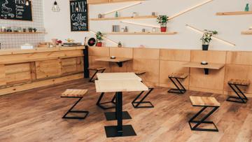 Cozy wooden empty Coffee Shop