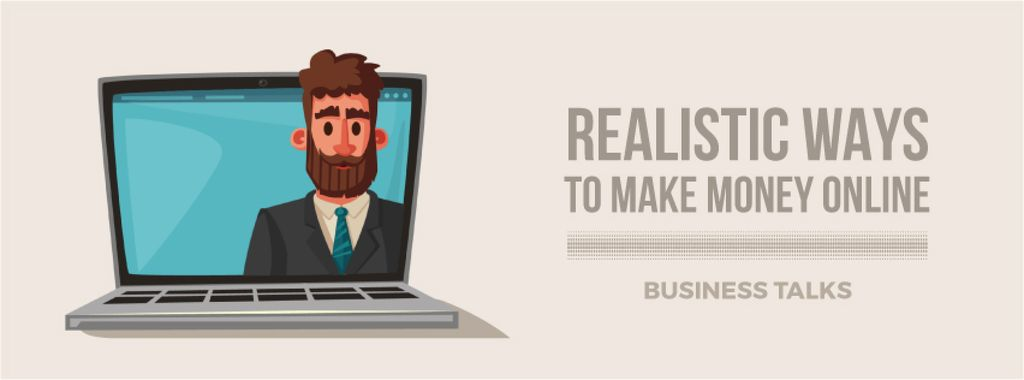Businessman speaking on laptop screen — Maak een ontwerp