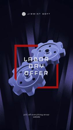 Labor Day Offer Blue Cogwheels Mechanism Instagram Video Story – шаблон для дизайну