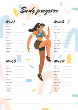 Body Progress Schedule Planner with Woman doing Workout