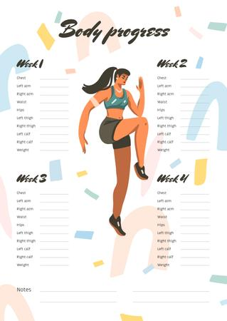 Ontwerpsjabloon van Schedule Planner van Body Progress Schedule Planner with Woman doing Workout