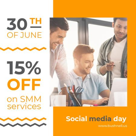Social Media Day Offer Team Working by Laptop Instagram – шаблон для дизайну