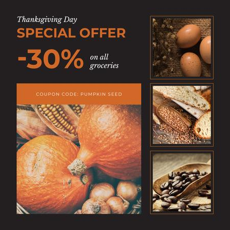 Template di design Thanksgiving Day feast concept Instagram AD