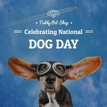 Pet shop celebrating national dog day poster