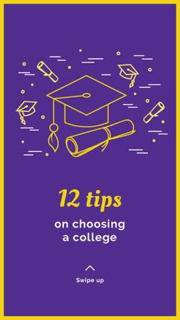 Choosing college tips with Graduation Cap Instagram Story Design Template