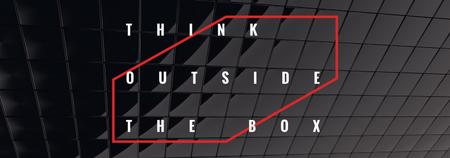 Think outside the box Quote on black tiles Tumblrデザインテンプレート