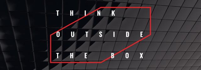 Modèle de visuel Think outside the box Quote on black tiles - Tumblr